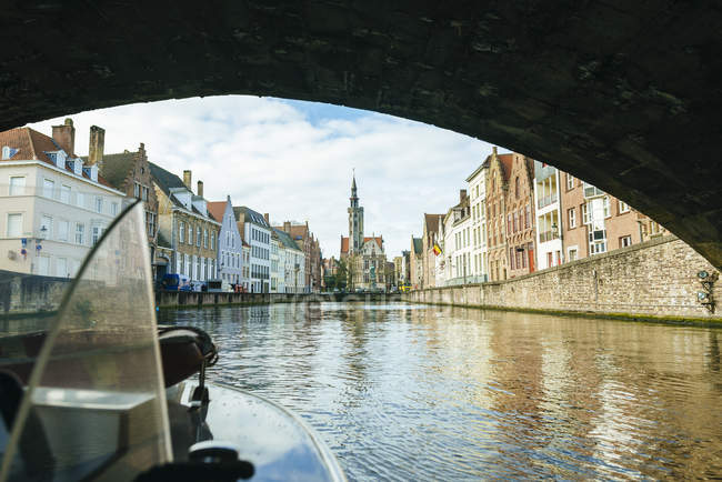 Belgium, Flanders, Bruges, canal seen from a boat — Stock Photo
