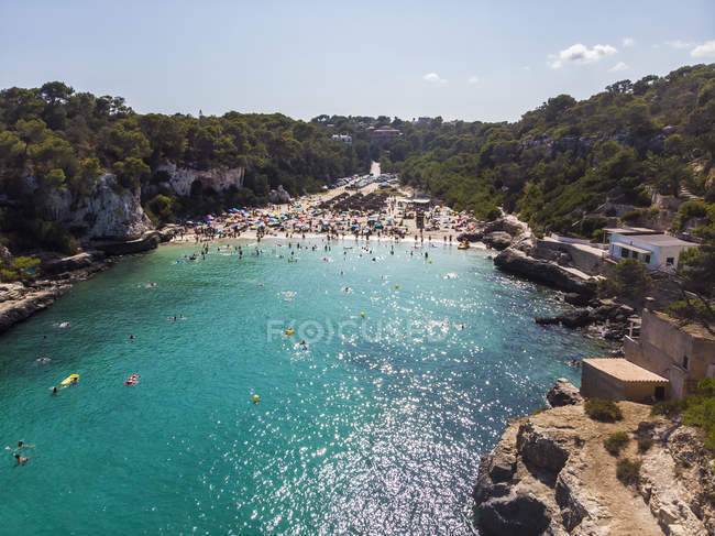 Spanien, Balearen, Mallorca, Luftaufnahme der Cala llombards, Strand — Stockfoto
