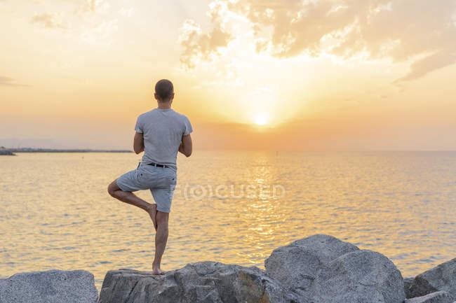 В Испании. Человек, занимающийся йогой во время восхода солнца на скалистом пляже, положение на дереве, вид сзади — стоковое фото