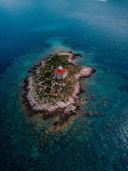 Croatia, Cres, Adriatic Sea, Island with lighthouse — Fotografia de Stock