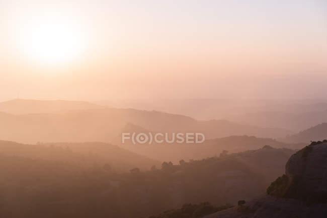 Spain, Catalonia, Barcelona, Montcau at sunset — Stockfoto