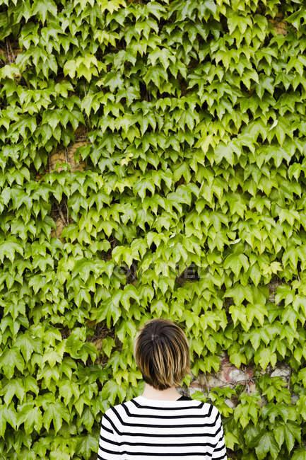 Vista posteriore della donna di fronte al verde facciata — Foto stock