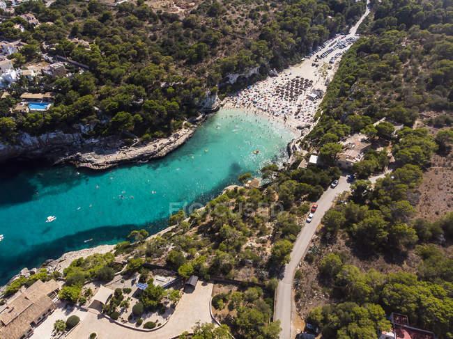 Spagna, Isole Baleari, Maiorca, Veduta aerea di Cala Llombardi — Foto stock
