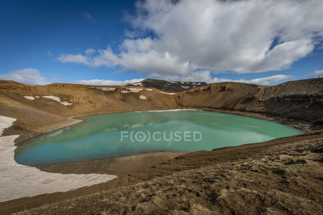Iceland, Myvatn, Krafla, crater with lake — Stock Photo