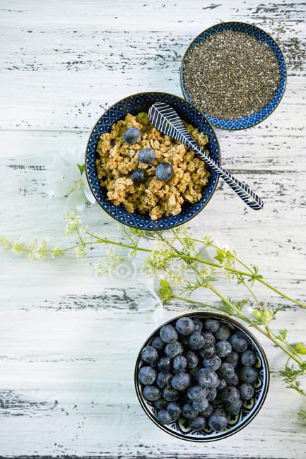 Schalen aus Müsli, Heidelbeeren und schwarzen Chiasamen — Stockfoto