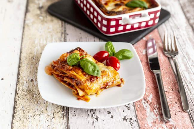 Lasagne bolognaise végétarienne au basilic et tomate — Photo de stock