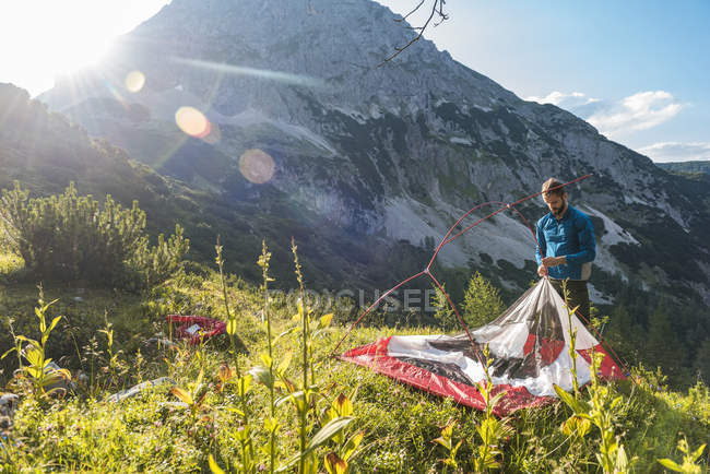 Austria, Tyrol, Hiker setting up tent in sunny mountains — Stock Photo