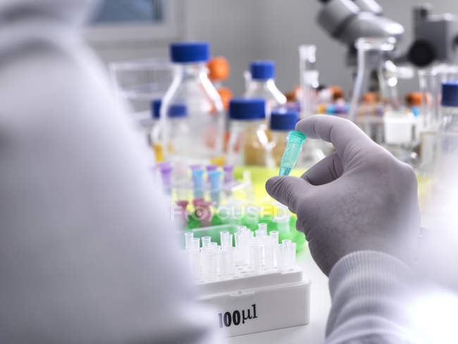 Biotechnology Research, Scientist viewing specimens in a vial during an experiment in the laboratory — Stock Photo