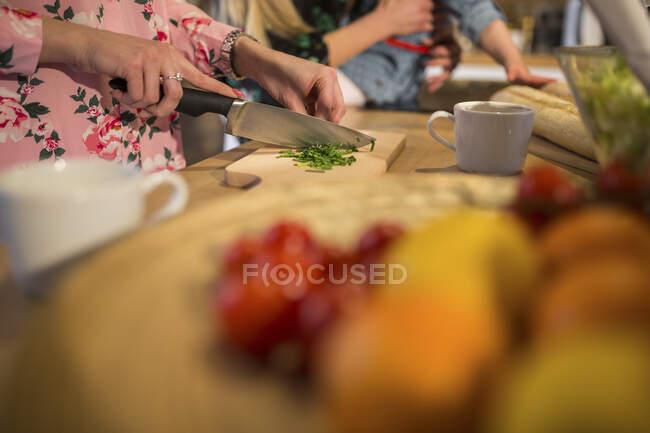 Primer plano de amigas preparando la cena juntas - foto de stock