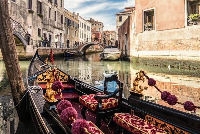 Italy, Venice, gondola on canal — Stock Photo
