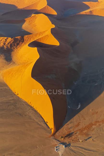 Africa, Namibia, Namib desert, Namib-Naukluft National Park, Aerial view of desert dune — Fotografia de Stock