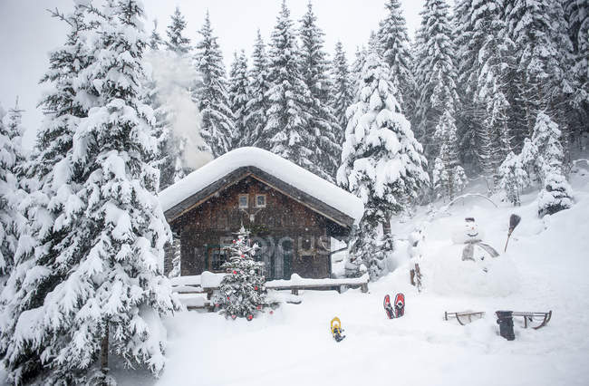 Austria, Altenmarkt-Zauchensee, snowman, sledges and Christmas tree at wooden house in snow — Foto stock