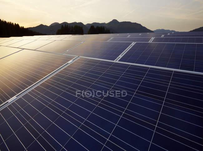 Austria, Tyrol, solar plant at evening twilight — Stock Photo