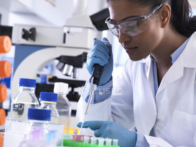 Генетичні дослідження, жіночий науковець, піпетування Дна або хімічний зразок в епіндорф флакон, аналіз в лабораторії. — стокове фото