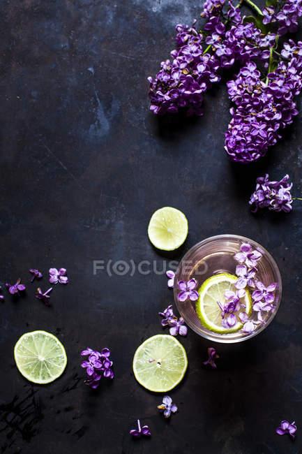 Vaso de limonada lila casera con rodajas de limas - foto de stock