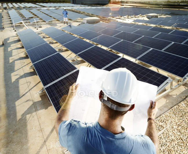 Back view of engineer looking at plan in front of solar plant — Stock Photo