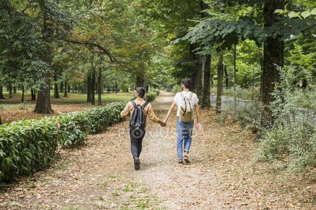 Visão traseira do jovem casal gay com mochilas andando de mãos dadas no caminho no parque — Fotografia de Stock