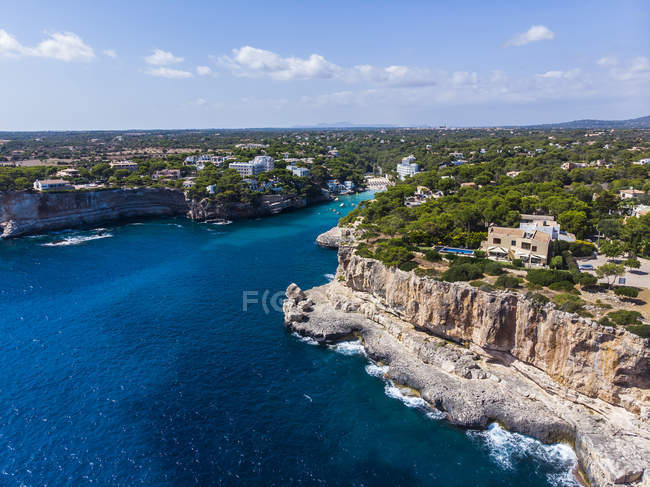 Spanien, Balearen, Mallorca, Luftaufnahme der Bucht Cala Santanyi — Stockfoto
