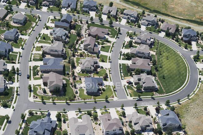 USA, Aerial photograph of a subdivision near Lafayette, Colorado, north of Denver — Stock Photo