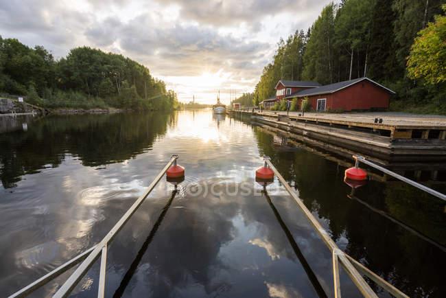 Finland, Kajaani, Mooring area in a river — Stock Photo