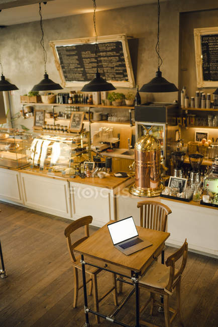 Laptop With Blank Screen In Coffee Shop Sale Technology Stock Photo 268349070