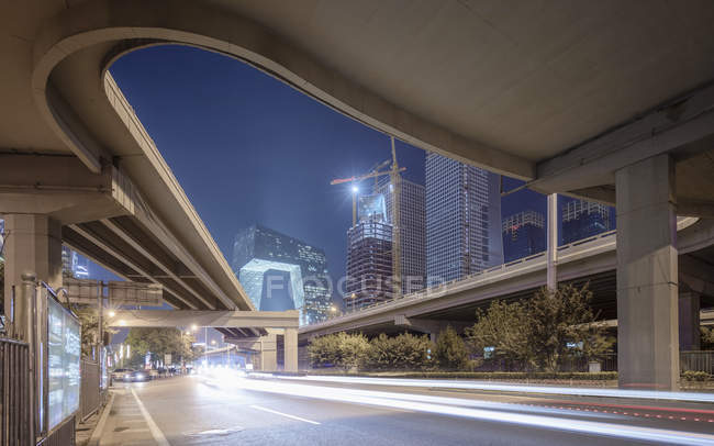 China, Beijing, headquarters for China Central Television CCTV at night — Stock Photo