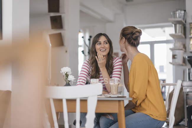 Zwei Freundinnen treffen sich in einem Café und unterhalten sich — Stockfoto
