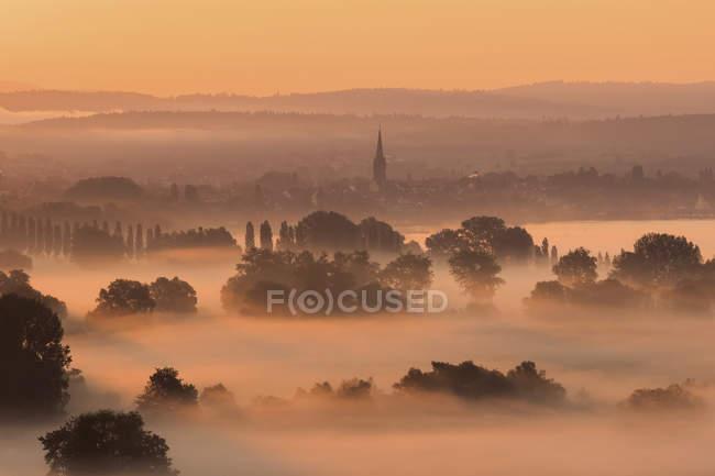 Alemanha, distrito de Constance, Radolfzell e nevoeiro matinal sobre Aachried — Fotografia de Stock