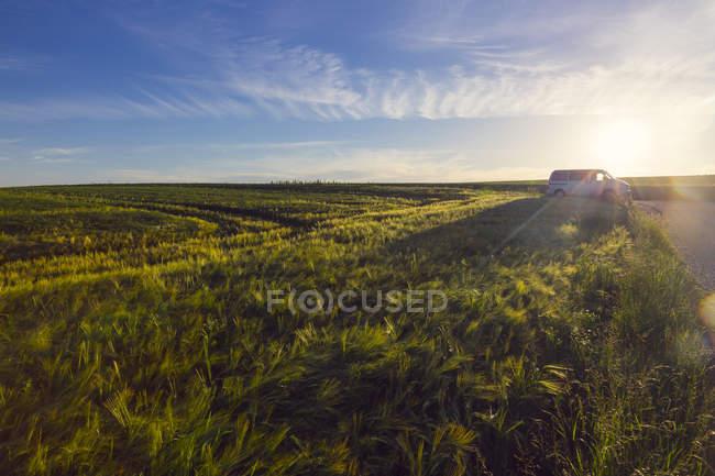 Австрія, Верхня Австрія, кемпер на заході сонця — стокове фото
