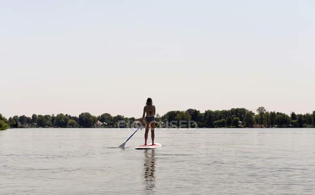 Deutschland, brandenburg, rückansicht frau stand up paddle surfen am zeuthener see — Stockfoto