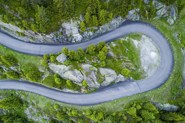 Svizzera, Cantone di Uri, Goeschenen, Goescheneralp, Veduta aerea del passo di montagna — Foto stock