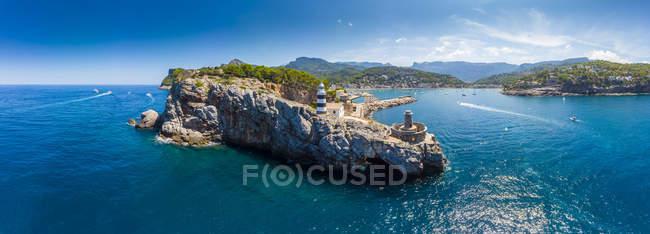 Spagna, Isole Baleari, Maiorca, Serra de Tramuntana, Port de Soller, vista panoramica — Foto stock