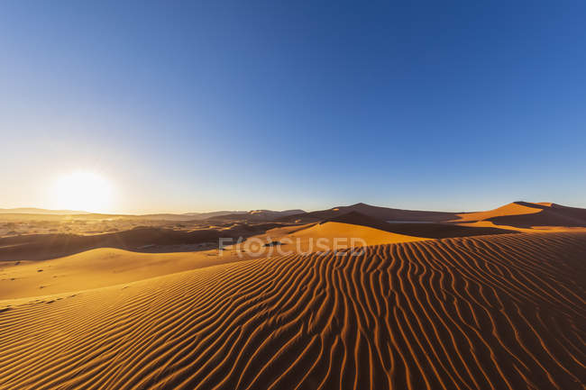 Africa, Namibia, Namib desert, Naukluft National Park, sand dunes against the morning sun — Stock Photo