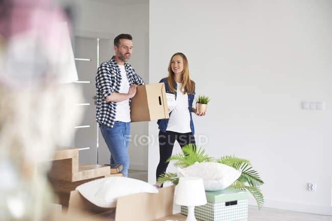 Coppia felice in movimento in nuovo appartamento portando scatola di cartone e pianta — Foto stock