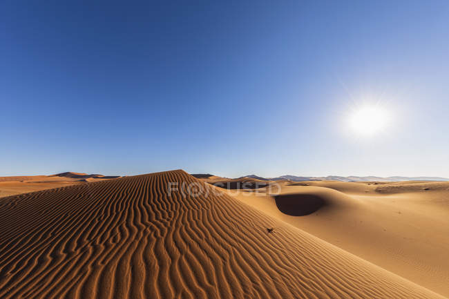 Africa, Namibia, Namib desert, Naukluft National Park, sand dunes against the sun — стокове фото