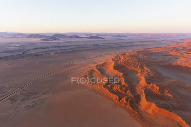 Africa, Namibia, Namib desert, Namib-Naukluft National Park, Aerial view of desert dunes, air balloons — Stock Photo