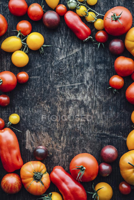 Different sorts of tomatoes on woodden background, copy space — Stock Photo