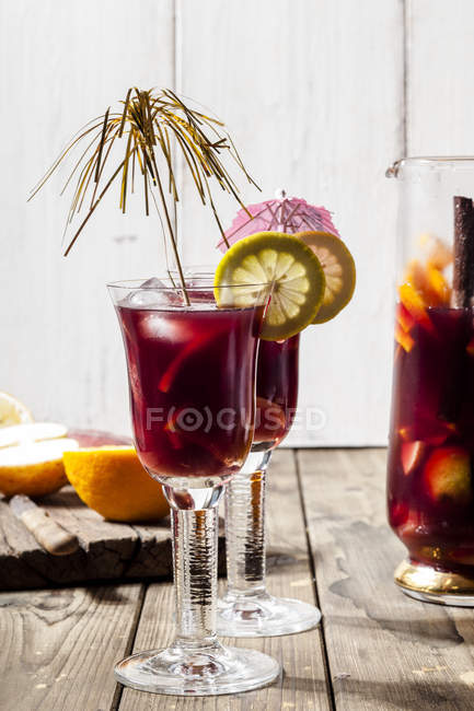 Decorated glasses of Sangria with fresh fruits — Stock Photo