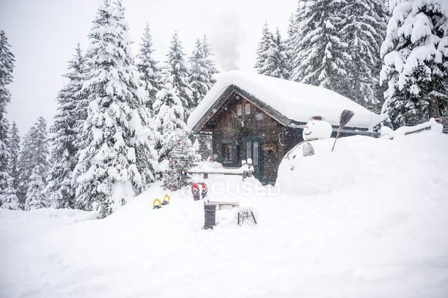 Austria, Altenmarkt-Zauchensee, hombre de nieve, trineos y árbol de Navidad en casa de madera en la nieve - foto de stock