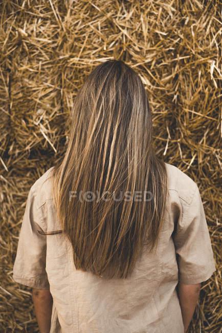 Bella giovane donna in piedi davanti alle balle di fieno, vista posteriore — Foto stock