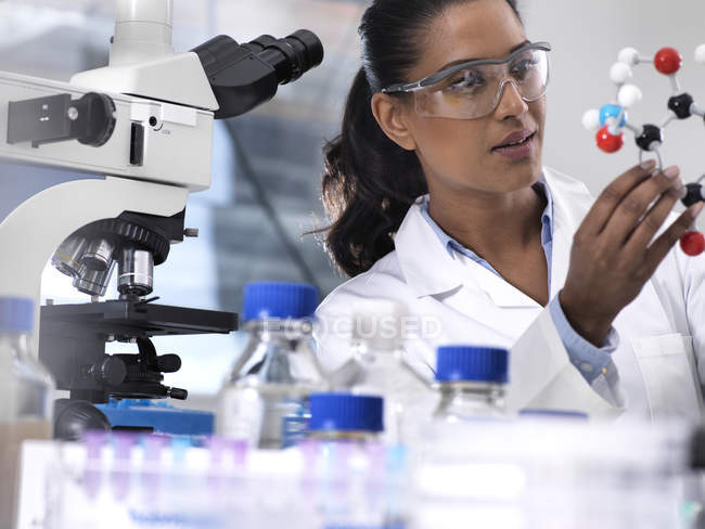 Biotechnology Research, female scientist examining a chemical formula using a ball and stick molecular model in the laboratory — Stock Photo
