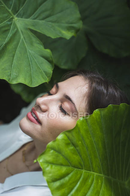 Portrait of young woman under green leaves with eyes closed — Stock Photo
