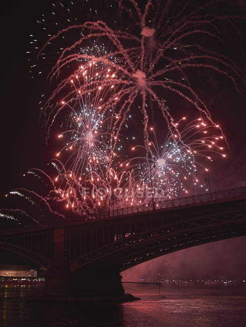 Germany, Wiesbaden, Theodor Heuss Bridge, fireworks at Rhine river — Stock Photo
