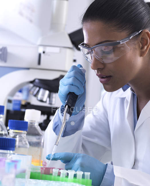 Genetic research, female scientist pipetting DNA or chemical sample into a eppendorf vial, analysis in the laboratory — Stock Photo