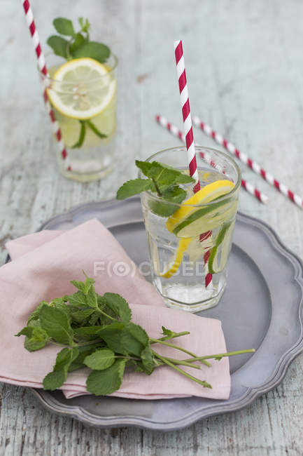 Glasses of infused water with lemon, lime and mint — Stock Photo