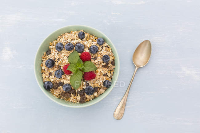 Bowl of muesli with raspberries and blueberries — Stock Photo