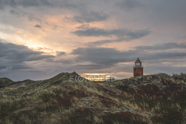 Germany, Schleswig-Holstein, Sylt, Kampen, cross light in dunes at sunset — Stockfoto