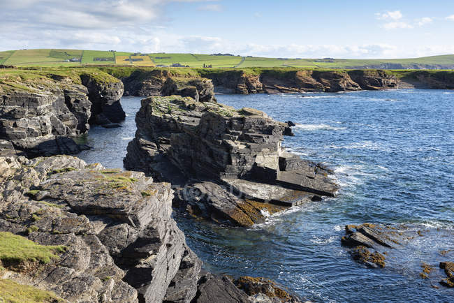 Great Britain, Scotland, Orkney Islands, Birsay, rocky cliffs on the north coast of Mainland — стоковое фото