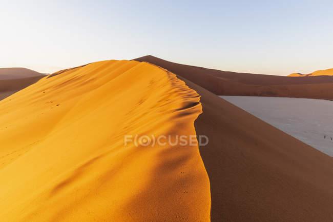 Африка, Намибия, пустыня Намиб, Национальный парк Науклуфт, Дэдвлей и песчаные дюны в утреннем свете — стоковое фото