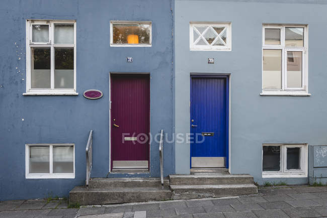 Iceland, Reykjavik, house facade, colorful doors — Stock Photo